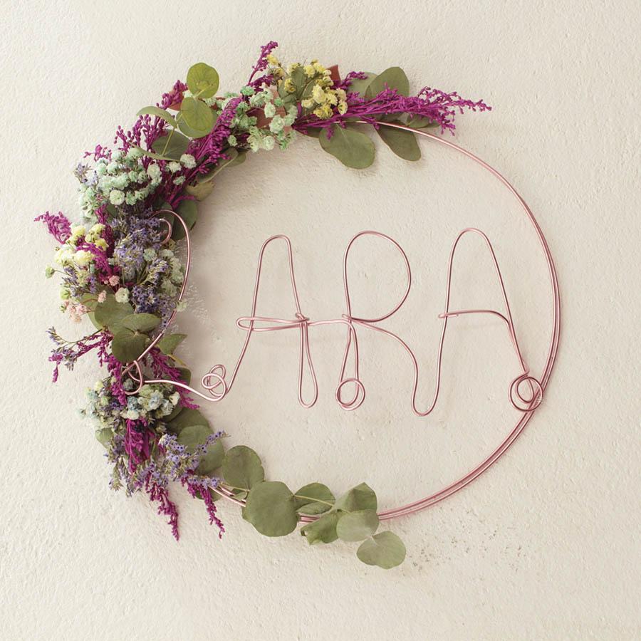 corona flores secas nombre personalizado